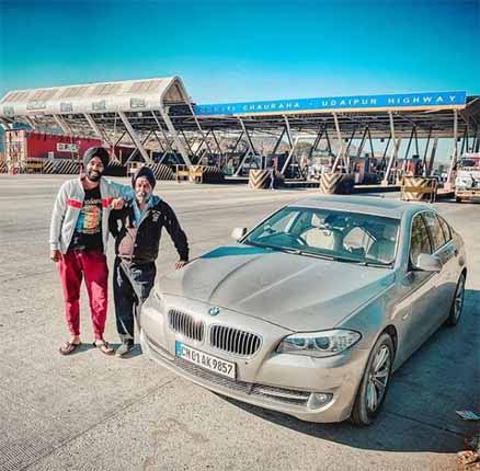 Jatt Prabhjot's with his BMW 5 series
